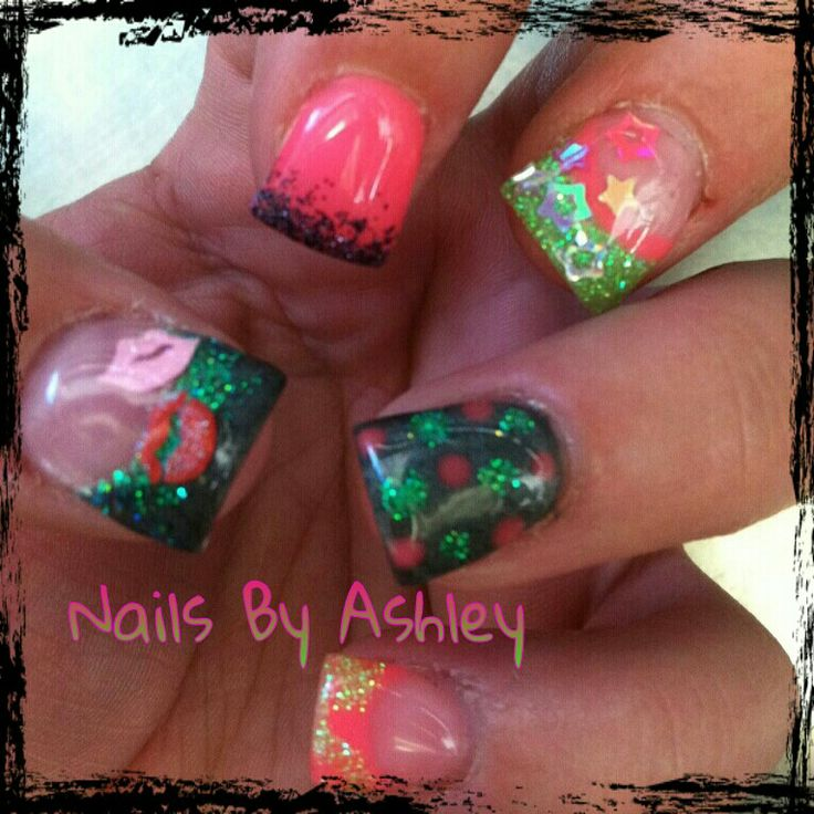 Wild kiss polka dot star bright gel nail design