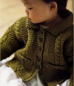 baby knitting pattern cable and moss stitch cardigan 6 / 24m in aran yarn instand download