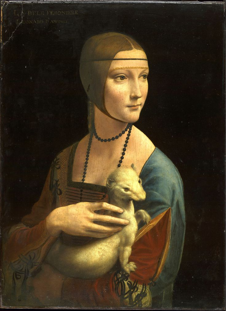 Lady with an Ermine is a painting by Leonardo da Vinci, from around 1489–1490. The subject of the portrait is identified as Cecilia Gallerani, and was probably painted at a time when she was the mistress of Ludovico Sforza, Duke of Milan, and Leonardo was in the service of the Duke.