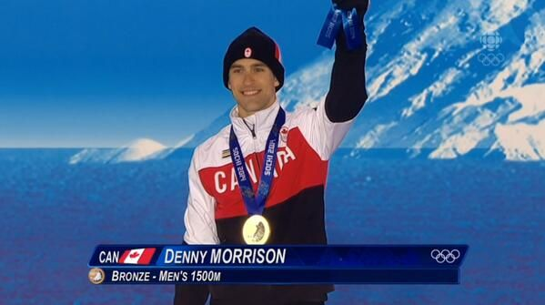 Canada's @Denny_Morrison accepts his bronze medal for the men's 1500 m speed skating.