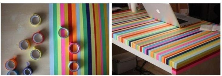 Старый стол можно обновить с помощью цветного скотча. Сверху дополнительно пройтись лаком.