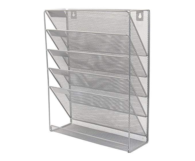 Pag Hanging Wall File Holder Mail Sorter Magazine Rack Office Supplies Metal Mesh Desk Organizer 6 Tier Silver Wall File Holder Wall File Desk Organization