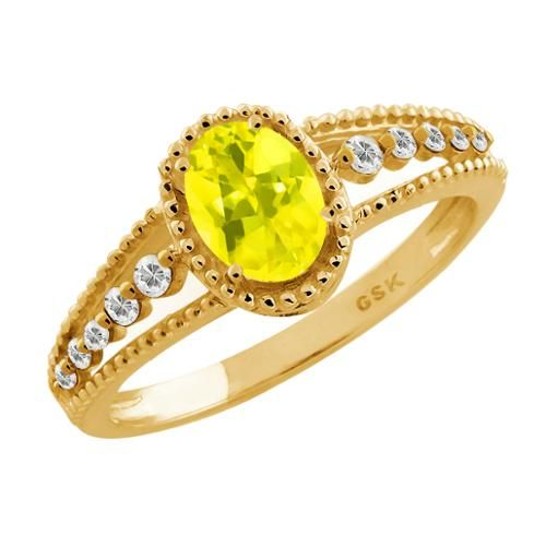 1.11 Ct Oval Canary Mystic Topaz White Topaz 18K Yellow Gold Ring