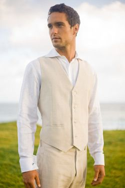 First the suit, there is a jacket that goes with this as well. For a beach wedding a khaki linen suit for the grooms would be great.