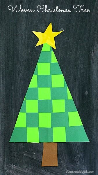 Woven Paper Christmas Tree Craft for Kids: Work on patterning and fine motor skills with this unique holiday craft for children. (Great for first grade, second grade, and third grade) ~BuggyandBuddy.com