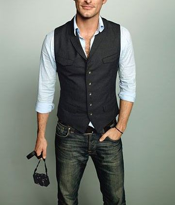 Classy waistcoat and jeans.