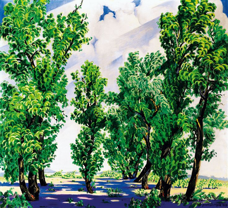 BOROMISZA TIBOR (1880 - 1960): Oil painting on canvas: Rare representation of the Margaret island (Margitsziget) showing trees and the Danube in the background by Kieselbach Gallery