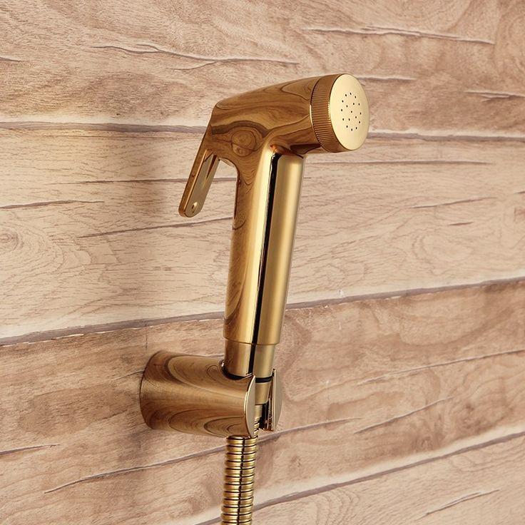 With 7/8*7/8*1/2 T-adapter 3-way diverter Gold ABS Sprayer hand held toilet bidet spray shattaf spray toilet shower jet set