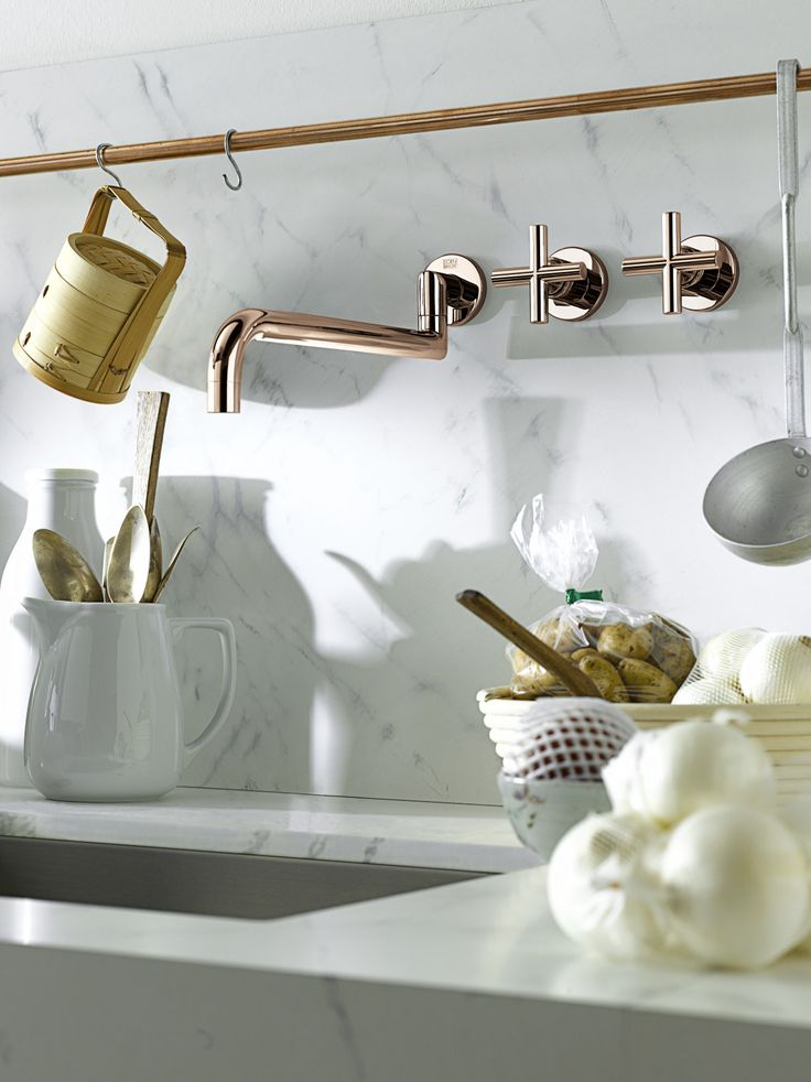 Dornbracht's wall mount kitchen faucet / Tara Collection