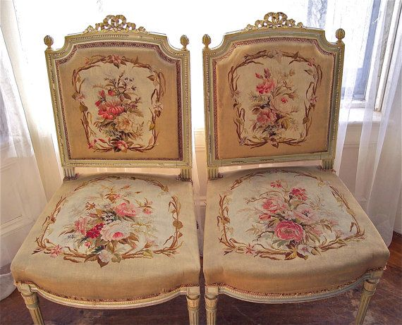FRENCH CHAIRS  Aubusson tapestry  Louis XV by WinonasColors, $795.00