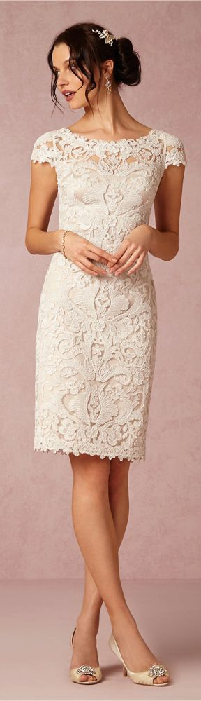 Knee length Wedding Dress by Tadishi Soji