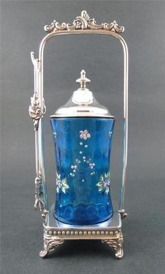 Sapphire Blue IVT Enamel Gilt Floral Swags Victorian Pickle Castor | eBay