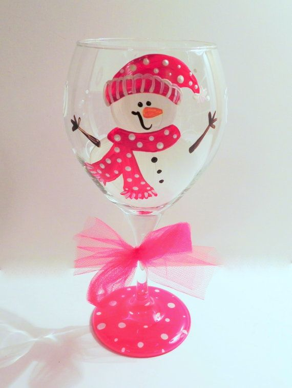 Christmas Wine Glass by SassyPeasDesigns on Etsy