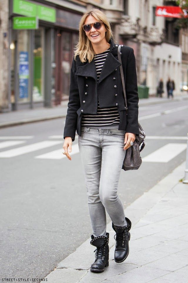 Grey jeans, military coat, ankle lace up boots, striped top ...