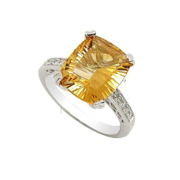 Awesome  Carat Citrine Gemstone Engagement Ring on Silver