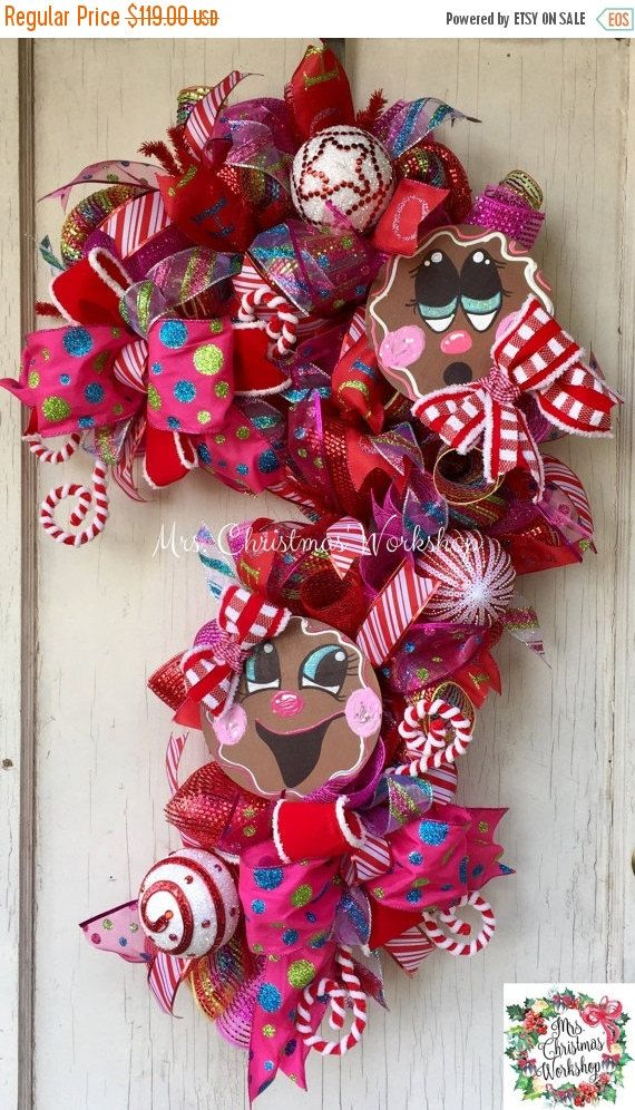 Christmas sale Christmas wreath candy cane by MrsChristmasWorkshop