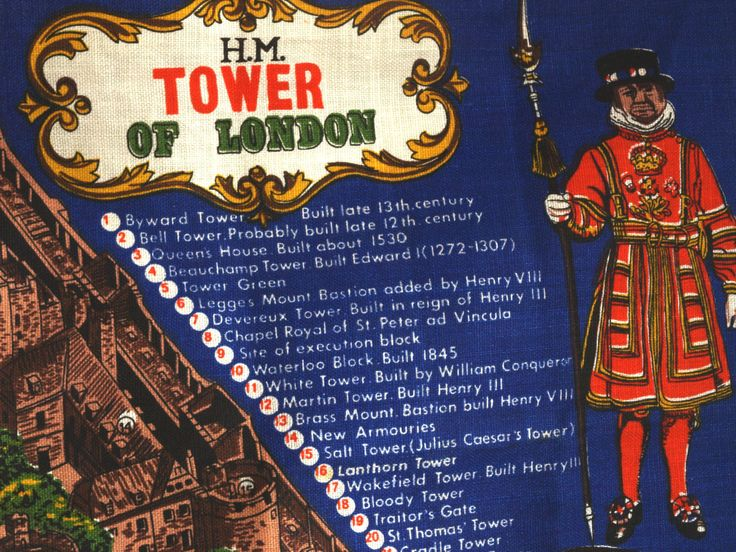 Vintage Ulster HM Tower of London Irish Linen Tea Towel - River Thames Tea Towel - Made in Ireland - New Old Stock by FunkyKoala on Etsy