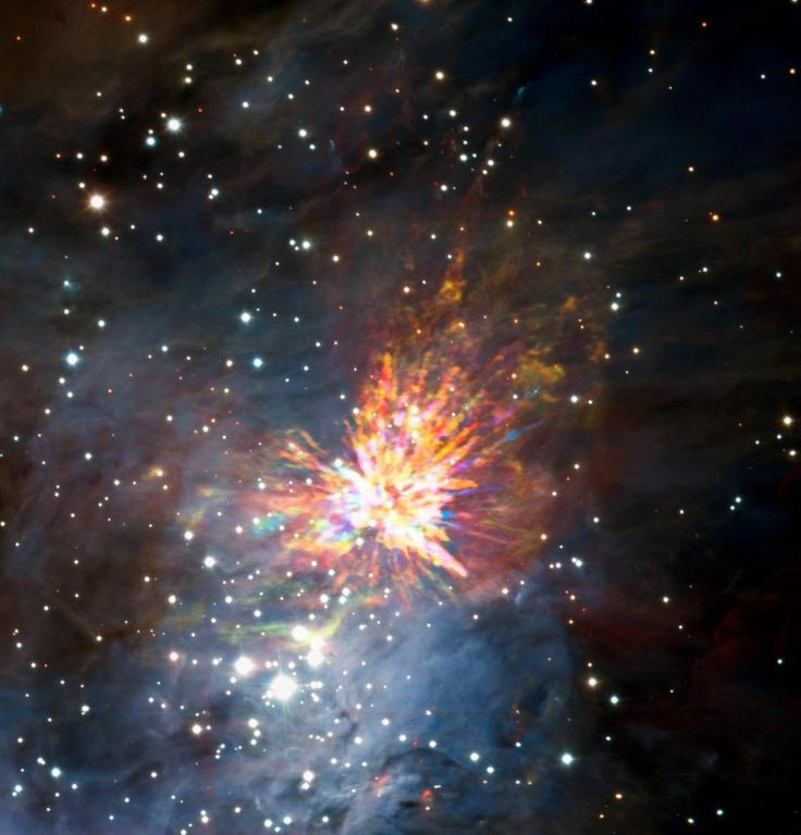 The bright colours are actually gases or other material blown about during the epic explosion