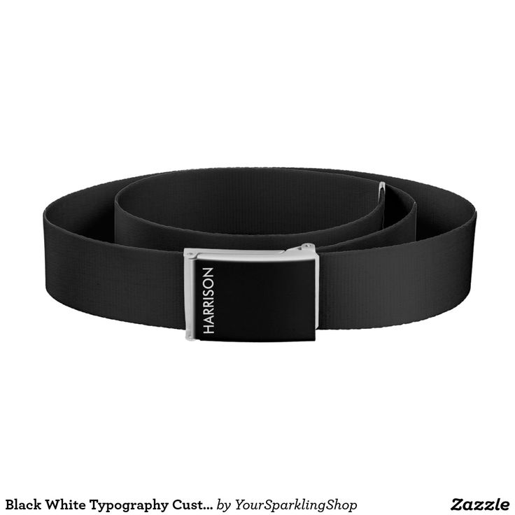 Black White Typography Custom Harrison Name Belt