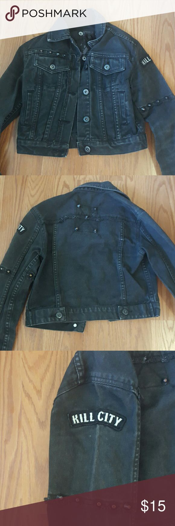 Lip service kill city black/gray jean jacket NWOT excellent condition. Worn once. Hasnt been broken in yet. The color is a faded black style. lip service Jackets & Coats Jean Jackets