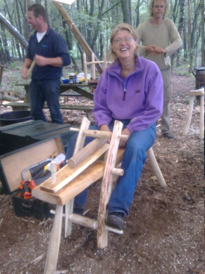 me on my homemade shaving horse, the tool to help you work with green wood