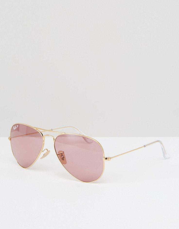 Ray-Ban - Lunettes de soleil aviateur en métal à verres polarisés - Rose