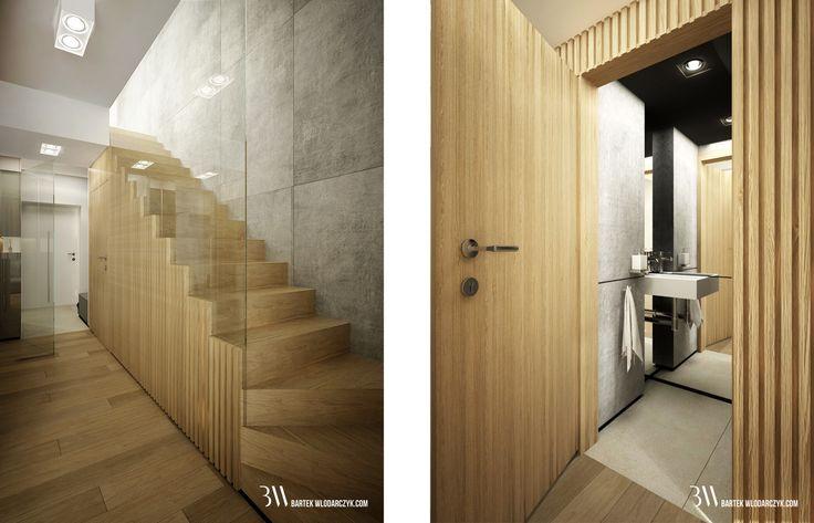 Projekt holu z drewnianymi schodami, taflą szkła i płytami betonowymi na ścianie. www.bartekwlodarczyk.com