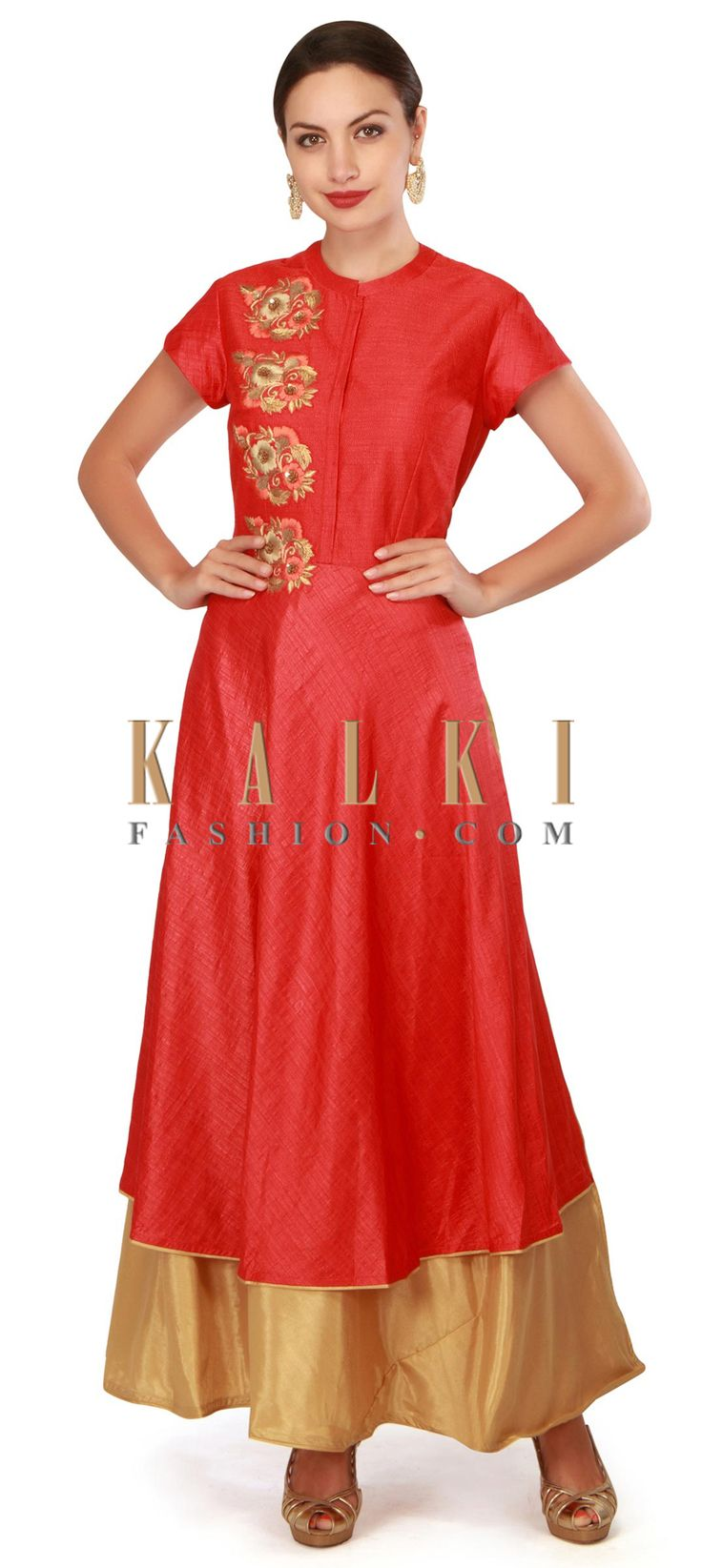 Buy now Red suit embellished in resham and kardana embroidery only on Kalki