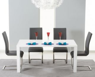 Hereford White High Gloss Dining Set - with 4 Grey Malibu Chairs
