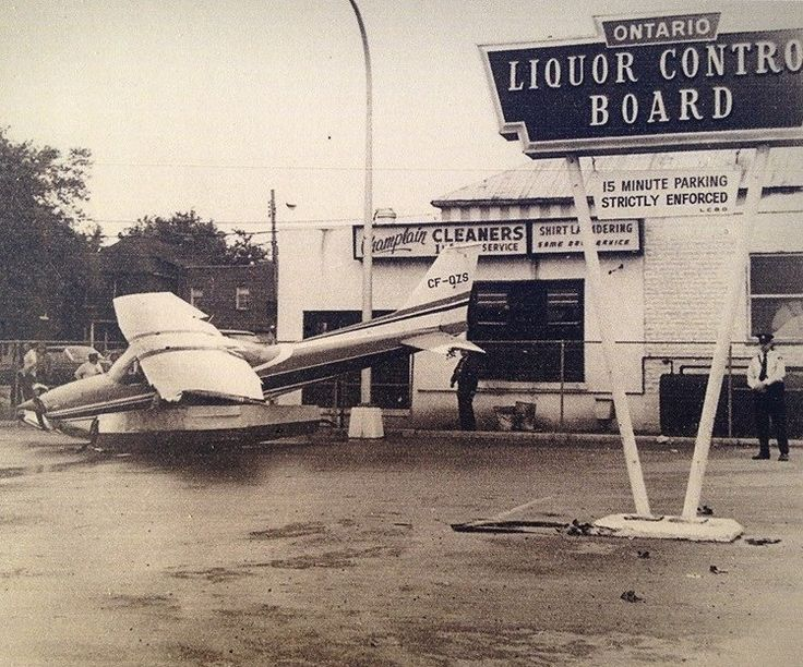 Float plane crashes in Orillia LCBO parking lot.