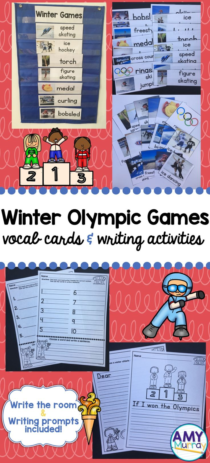 Winter Olympic Games 2018 - vocabulary/word wall cards with real photographs, write the room templates and writing prompts for young learners!