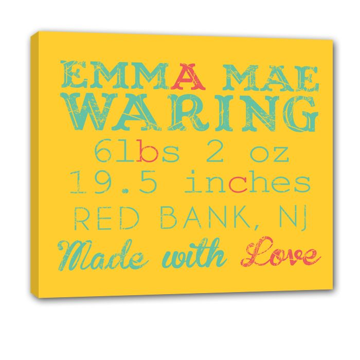 396 best nursery art images on pinterest new parent gifts baby baby announcement wall art personalized birth stats birth announcements birth statistics announcement wall decor new baby birth details negle Images