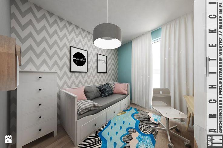 Mieszkanie w Katowicach 65m² - Średni pokój dziecka dla dziewczynki dla nastolatka, styl skandynawski - zdjęcie od More IN