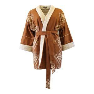 Image of Brun kimono jakke med hvidt thermo foer