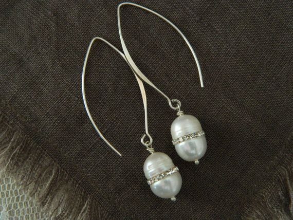 Assemblage Rhinestone Pearl Dangle Earrings Sterling by 58Diamond