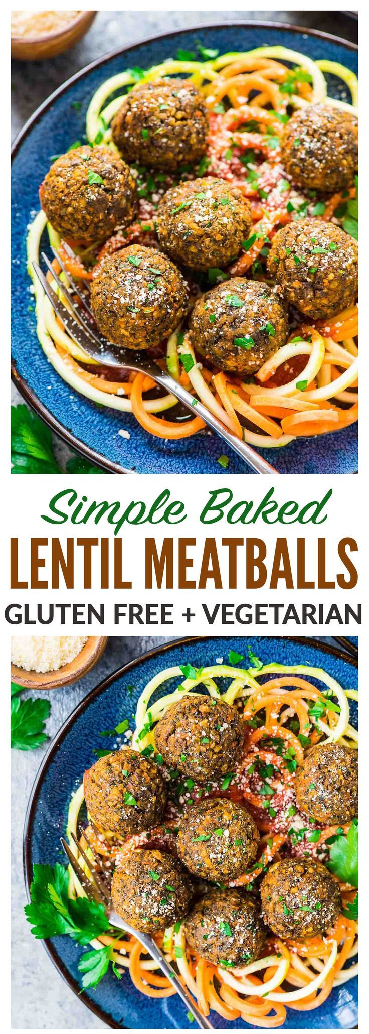 Easy Vegetarian Lentil Meatballs - Simple, healthy and protein packed! Made with lentils, carrots, and Italian spices, then oven baked. Perfect for filling meatless meals, and they taste great leftover too! {gluten free} Recipe at wellplated.com | @wellplated
