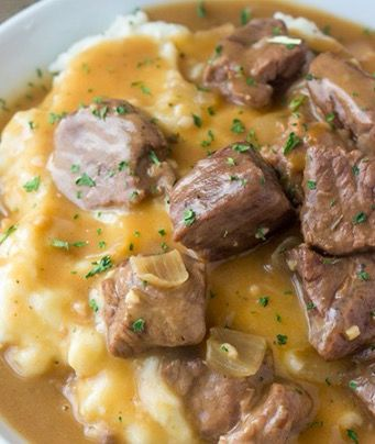 Savory Slow Cooker Beef Tips and Gravy - Recipes, Main Dish, Meal Ideas