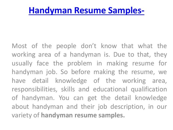 Handyman Resume 16 free sample hostess resumes Most Of The People Dont Know That What The Working Area Of A Handyman Is Due To That They Usually Face The Problem In Making Resume For Handyman Job