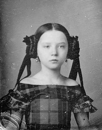 "Augusta Currie Bradhurst Field... rocking the Leia buns in the 1850s. The ""off-the-shoulder"" style of dress was briefly popular with children's dresses until people criticized the ridiculousness of the style on children."