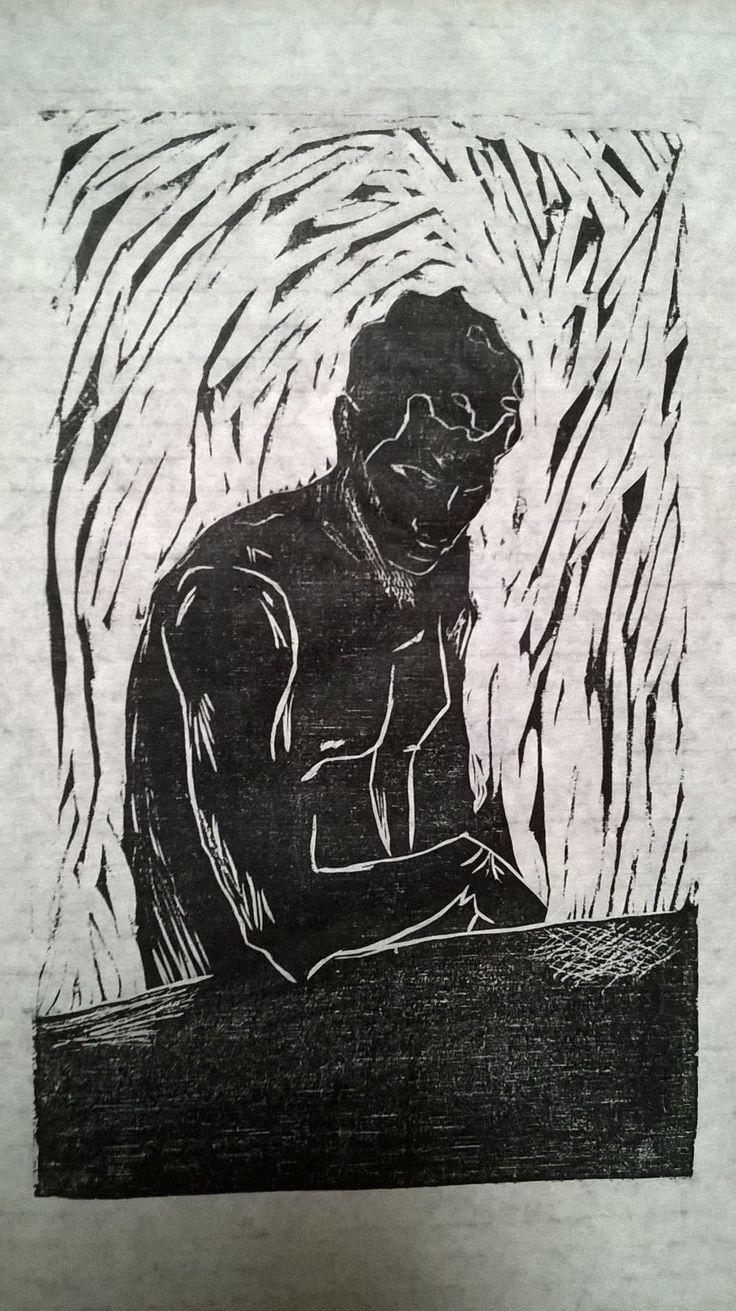 ¨Recordando al maestro Quirós...¨ xilografia grabado en madera basado en acuarela de Teodorico Quirós Pintor Costarricense