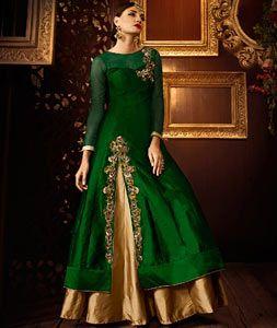 Green Silk Indo Western Lehenga Choli 73074