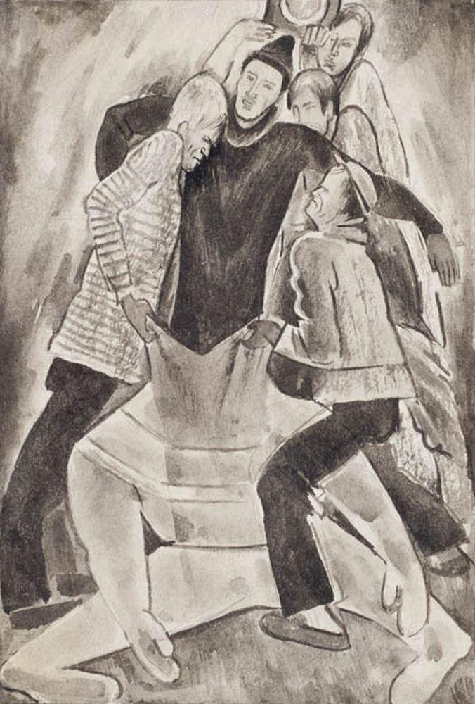 Самохвалов А.Н. Водолаза одевают. Иллюстрация к книге А.Н.Самохвалова «Три случая под водой».1927