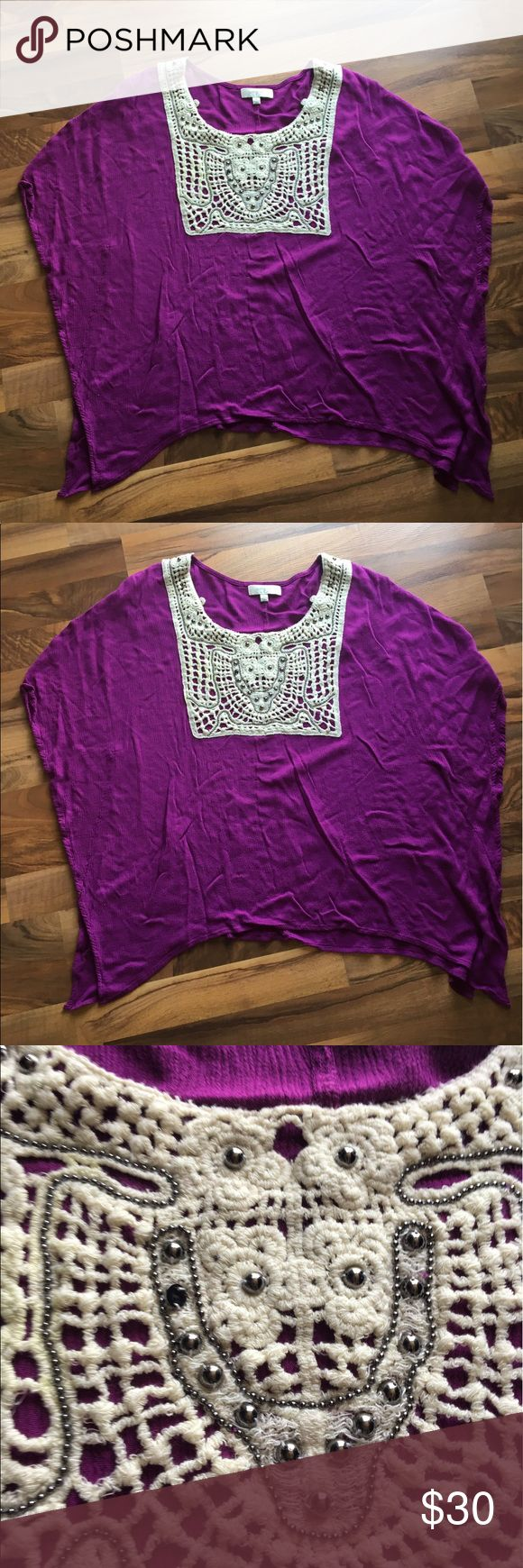 Umgee Purple Tunic Umgee purple short sleeve tunic/blouse, women's size extra large. Beautiful crotchet like detailing on the neckline. 60% cotton, 40% polyester. No rips or stains. Smoke and pet free home. Umgee Tops Tunics