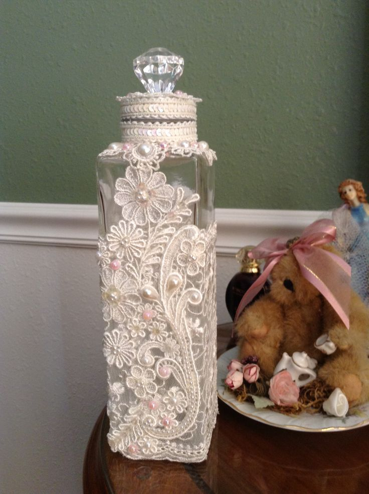 DIY Altered bottle, bath salts bottle, home decor, Shabby, Lace, Beaded, handcrafted by Juana