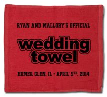 Custom Designed Wedding Rally Towel for your football themed wedding.