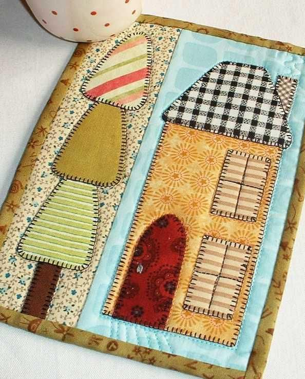 The House and Home mug rug from the Patchsmith's Special Days book.  This is one of two variations for this pattern.