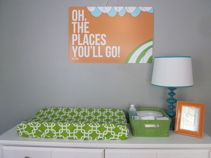 """Oh The Places You'll Go"" Dr Seuss print - #nurseryart: Color, Blank Canvas, Art, Projects Nurseries, Gray Wall Green Dressers, Modern Nurseries, Neutral Nurseries, Green And Orange Nurseries, Gray Nurseries"