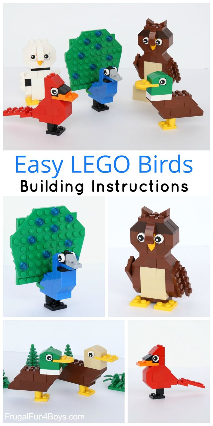 Simple LEGO Birds Building Instructions - Build ducks, a cardinal, owls, and a LEGO peacock