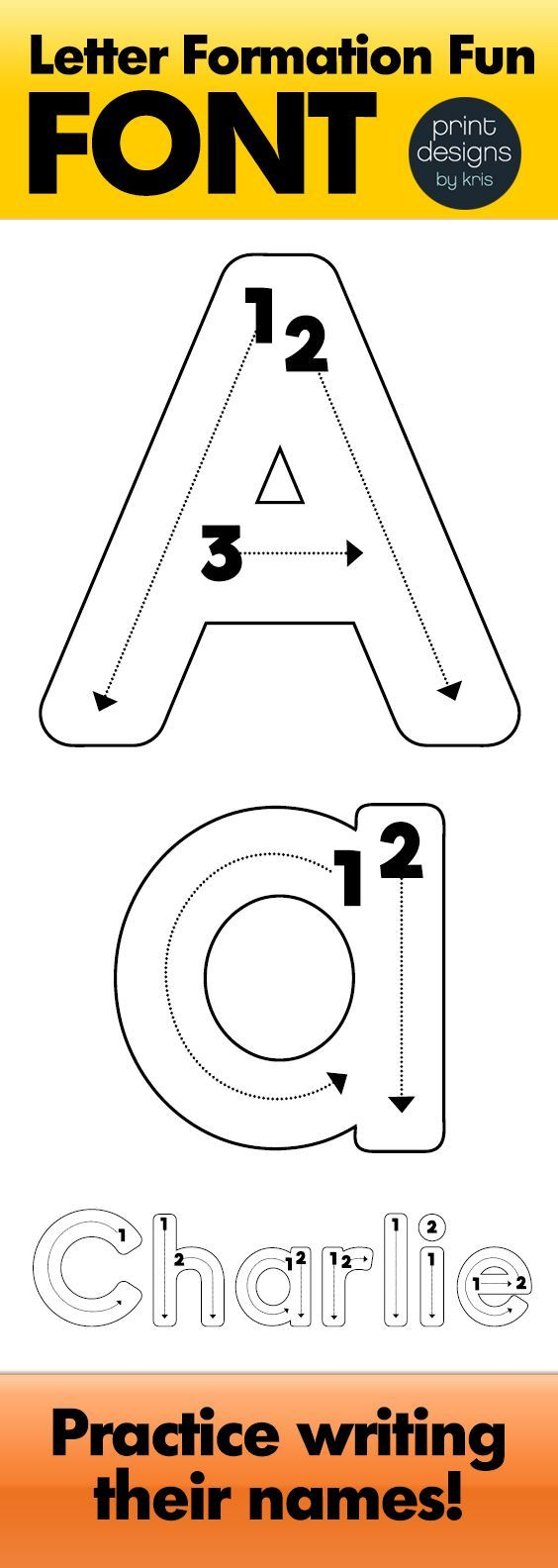 The perfect fonts for creating any and all of your letter formation and letter practicing materials. Type in your students names or your spelling words or whatever your heart desires with this fun letter formation and tracing font! The full uppercase and