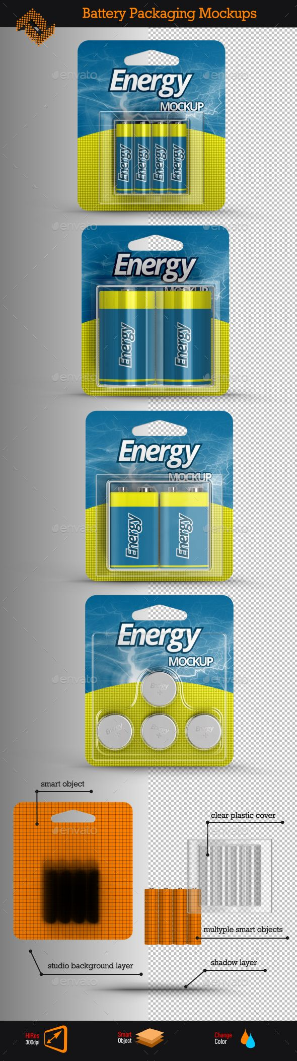 4 Battery Packaging Mockups | Download: http://graphicriver.net/item/4-battery-packaging-mockups/10025648?ref=ksioks